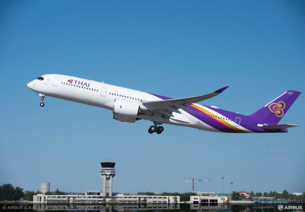 Thai Airways Airbus A350 takes off.