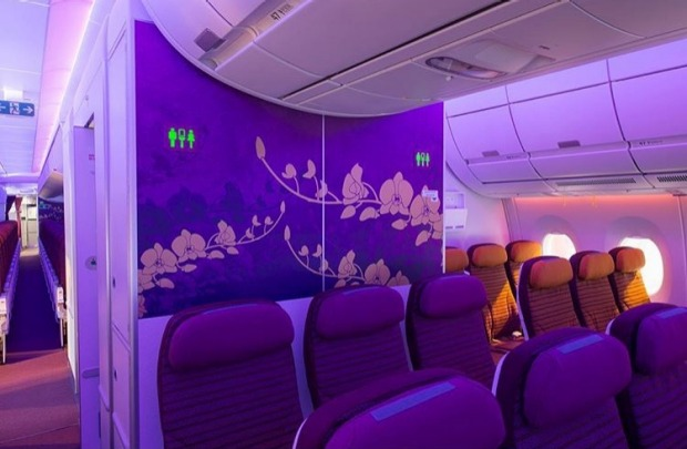 Thai Airways economy class on board the Airbus A350.