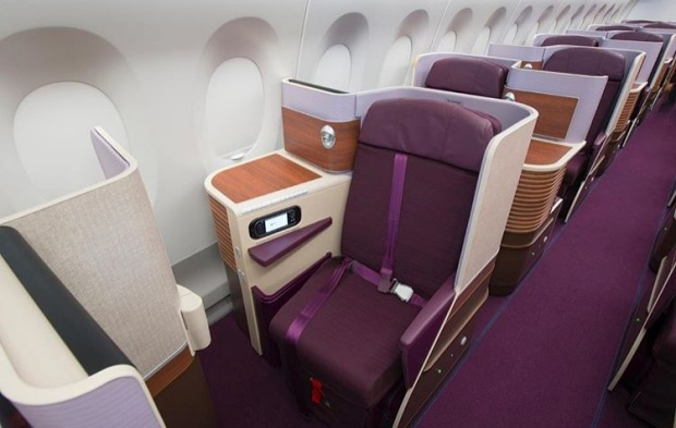 Thai Airways business class on board the Airbus A350. Thai's first A350 XWB jetliner has 321 seats configured in a ...