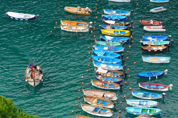 Boats on the Mediterranean Sea, Vernazza, Liguria, northwestern Italy.