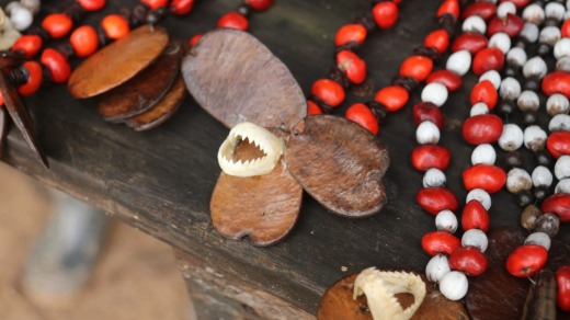 The only sign of piranhas - teeth on a necklace at a market stall.