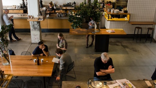 The Paramount Coffee Project cafe is on the ground floor.
