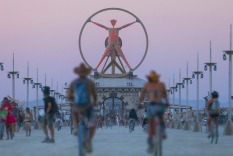 In this Wednesday, Aug. 31, 2016 photo, the Burning Man effigy, modeled after the Leonardo da Vinci's Vitruvian Man, ...