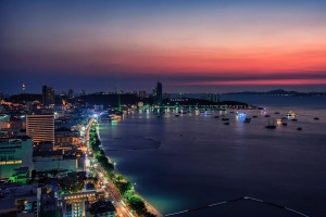 Sunset in Pattaya city.