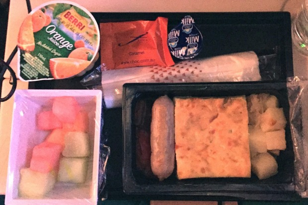 Etihad economy meal: Breakfast on the Sydney to Abu Dhabi A380 flight, leek and parsley frittata with chicken sausage, ...
