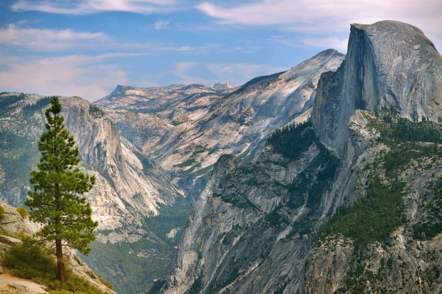 Beautiful view from the Yosemite National Park with the famous Half Dome.