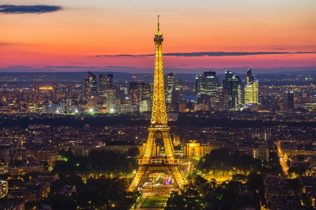 Panorama view of the Eiffel Tower at night. It was named after the engineer Alexandre Gustave Eiffel.