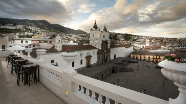 The view from Casa Gangotena's terrace over Quito.