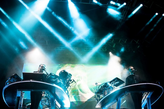 Guy Lawrence and Howard Lawrence of Disclosure perform at Falls Festival in Byron Bay.