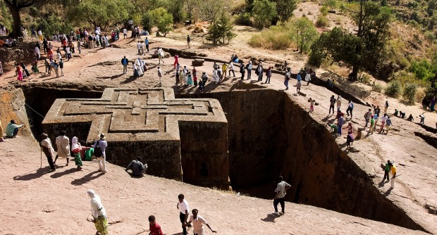 According to legend, the magnificent rock churches at Lalibela were actually built by flocks of angels. That seems as ...