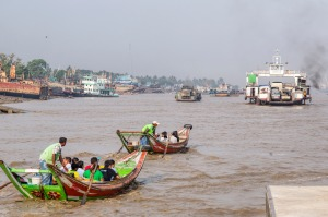 Taking a trip across the Yangon River is the only way to reach Dala island, on the left.