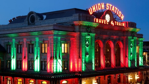 Union Station decorated with Christmas holiday lights.