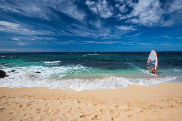 Windsurfing at Ho'okipa Beach, Paia, Maui.