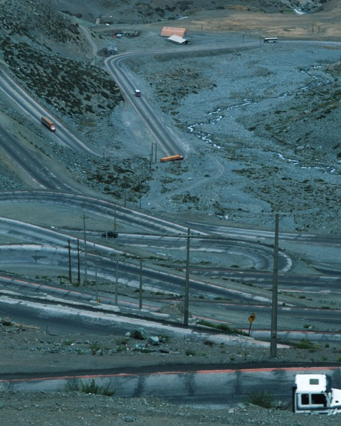 Los Caracoles Pass, Chile: The successive hairpin bends of the Chilean Andes.