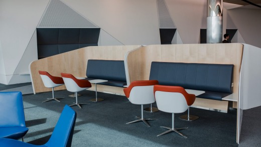 Leather seats and wooden booths are featured in Canberra's new international terminal.