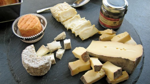 Cheese tasting platter at Fromagerie Laurent Dubois in Paris.