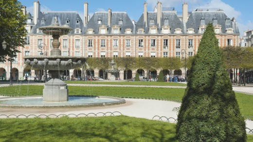 The Place des Vosges, in the Marais district, is one of the most beautiful squares in Paris.