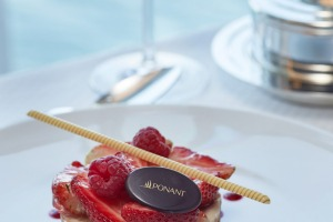 A dessert from the fine-dining restaurant on Ponant ship Le Soleal.