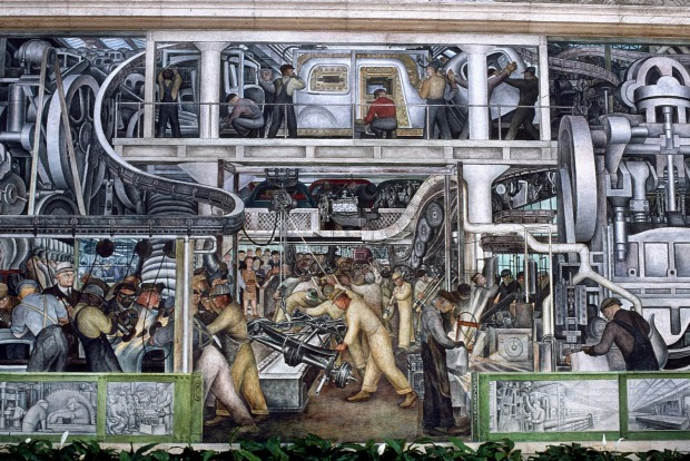 Diego Rivera's mural at The Detroit Institute of Arts, 1932-1933. Credit: Erik Falkensteen / Granger, NYC -- All ...
