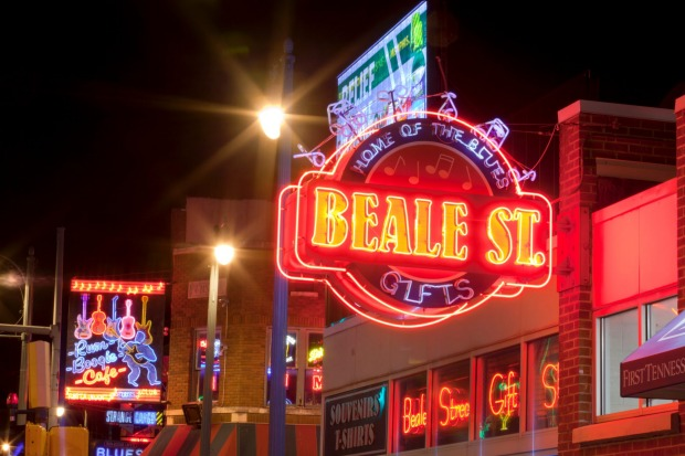 Memphis, Tennessee: The famous Beale Street in Downtown Memphis. It is a significant location in the city's history, as ...