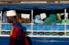 Stone Town, Zanzibar, Tanzania: Women in traditional bright-colored hijab sit on an open local bus as a man in a white ...