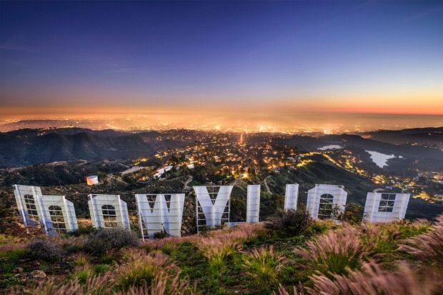 The Hollywood sign overlooking Los Angeles.