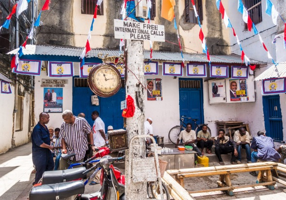 Stone Town, Tanzania: Jaw's Corner in one of old town streets in Stone Town.