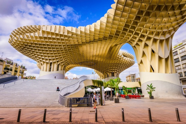 Seville, Spain: The Metropol Parasol. Located in the old quarter, the structure opened to public controversy in 2011.