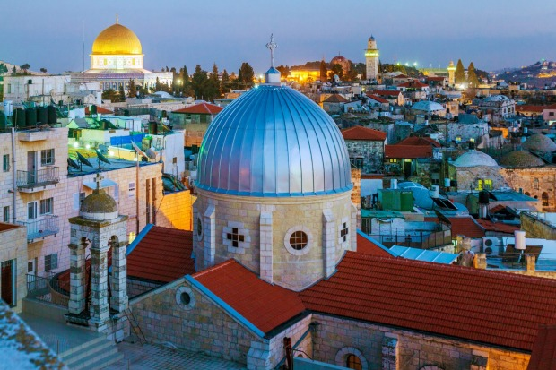 Jerusalem Old City and Temple Mount at Night, Israel.