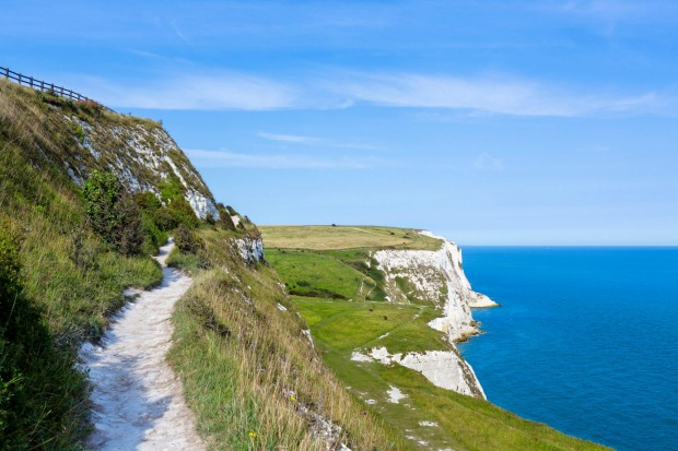 Clifftop path at the White Cliffs, Dover, Kent.