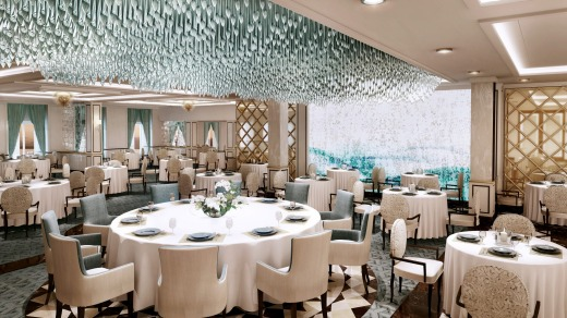Regent Seven Seas Explorer's Compass Rose restaurant with blue Murano glass chandelier.