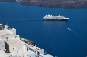 Azamara ship in Santorini.