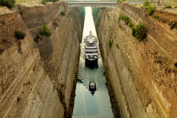 SeaDream yacht in the Corinth Canal.