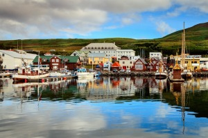 A calm morning in Husavik Harbour in Northern Iceland. Variety Cruises is sailing to Iceland for the first time in 2017.