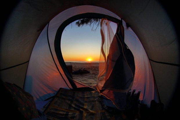 Secluded beach in northern NSW. Spent the night around the fire with good friends. Peaked out of the tent and instantly ...