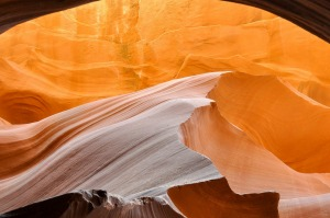 A photo taken whilst walking through lower antelope canyon, in the US. An unbelievably stunning canyon, light bounces ...