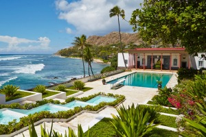 Heaven on earth: The swimming pool and view from Doris Duke's Shangri La in Hawaii.