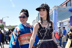 Japanese fashion, past and present, at the  cherry blossom festival in Japantown, San Francisco.