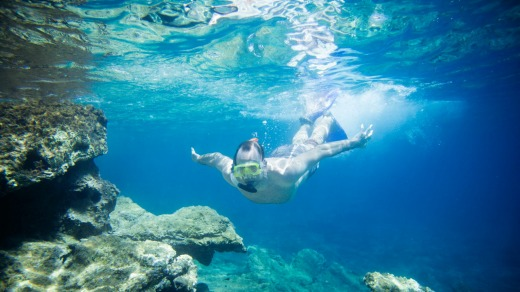 Snorkelling in crystal waters near Bodrum, Turkey.
