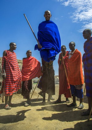 Maasai men performing the warriors' dance.