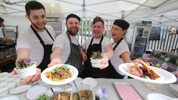 Let's Eat Glasgow! - Glasgow's first restaurant festival and pop-up market. Chefs (left to right) Craig Hawthorn, Andy ...