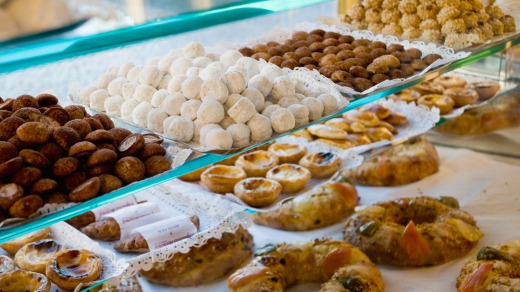 Portuguese sweets in Lisbon.