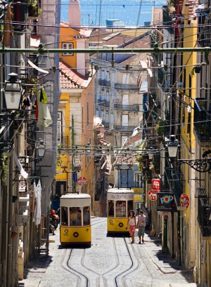 The funicular railway tram, in the Bairro Alto district of Lisbon.