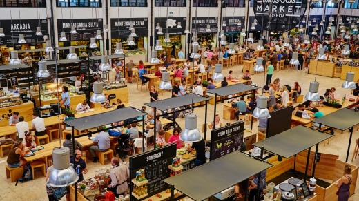 Mercado da Ribeira food court in Lisbon.