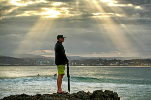 The Oracle, Coolangatta, Queensland Gold Coast. This man was watching and giving advice to a young beginner surfer in ...