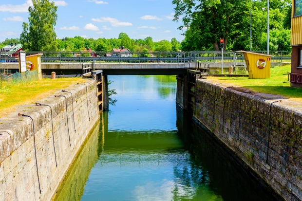 GOTA CANAL, SWEDEN. One of the largest construction projects ever undertaken in Sweden, the 190-kilometre Gota canal ...