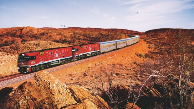 The Ghan travelling through Alice Springs.