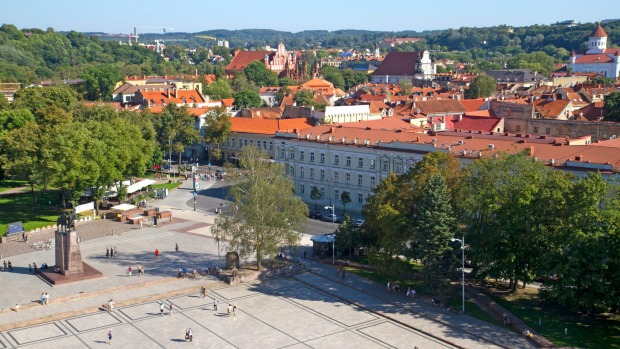 Cathedral Square and the old town, Vilnius.