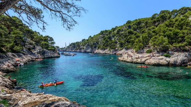 Kayaking in the calanque of Port-Pin near Cassis, southern France.