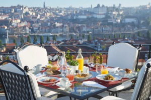Breakfast at The Yeatman's fourth- floor terrace, Porto, Portugal.